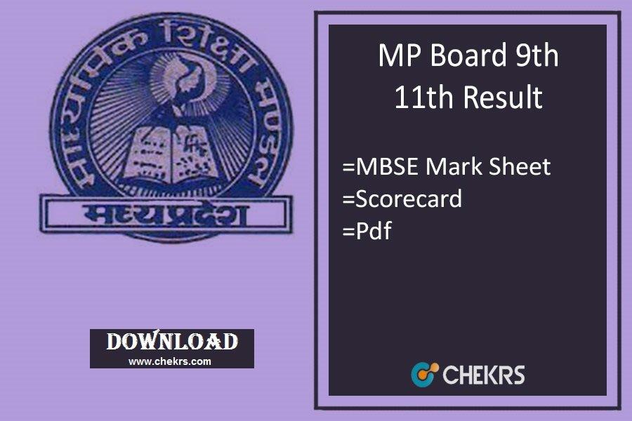 MP Board 9th 11th Result 2019 - MPBSE Result यहाँ देखें