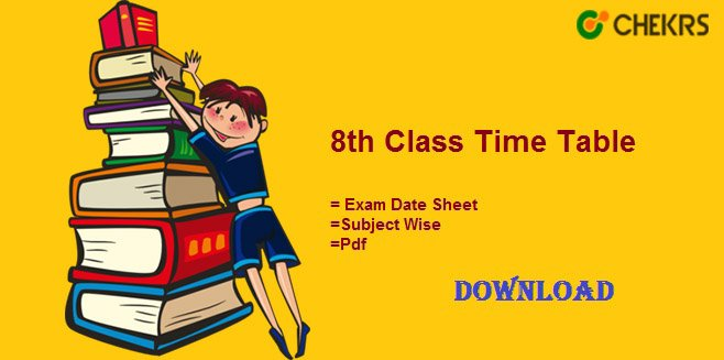 8th Class Time Table 2019 Download 8th Exam Date Sheet