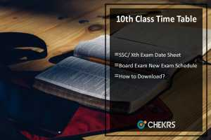 10th Class Time Table- SSC/ Xth Exam Date Sheet/ Schedule