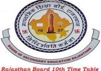 Rajasthan Board 10th Time Table 2017