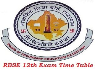 Rajasthan Board 12th Time Table 2017