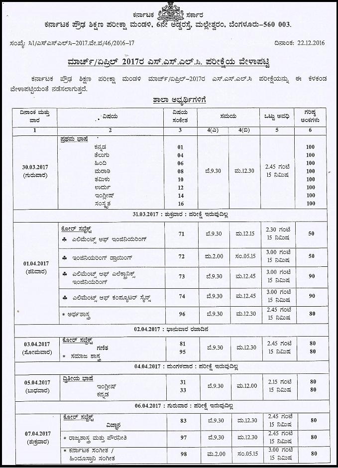 Karnataka SSLC Time Table 2017, KSEEB 10th Exam Date Sheet Available