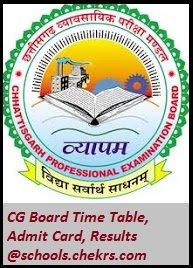 CG Board (CGBSE)- Time Table, Admit Card, Result, Schools