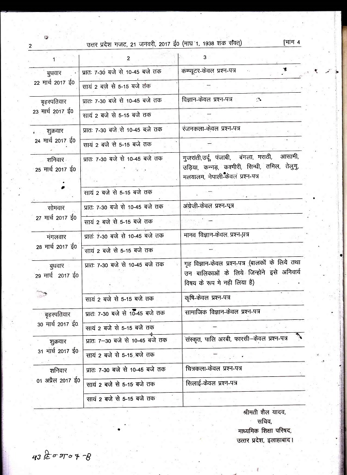Up board 12 exam time table download for Up board 10th time table