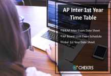AP Inter 1st Year Time Table - BIEAP Inter Exam Date Sheet