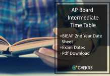 AP Board Intermediate Time Table- BIEAP 2nd Year Date Sheet