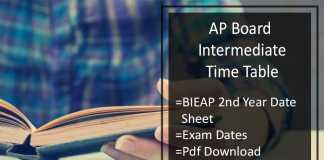 AP Board Intermediate Time Table- BIEAP 2nd Year Date Sheet