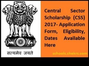 Central Sector Scholarship (CSS) 2017 Renewal Form, Eligibility