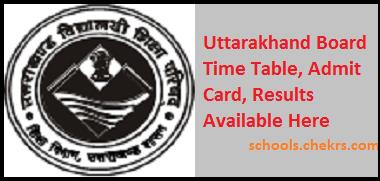 Uttarakhand Board Date Sheet, Admit Card, Result, Schools