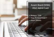 Assam HSLC Admit Card, SEBA 10th Hall Ticket Release Date