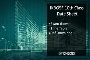 JKBOSE 10th Class Date Sheet- JK Board 10th Time Table