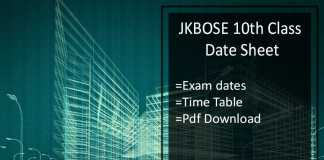 JKBOSE 10th Class Date Sheet- JK Board 10th Time Table