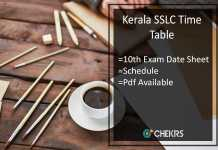 Kerala SSLC Time Table- Kerala Board 10th Exam Date Sheet