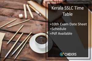 Kerala SSLC Time Table- Kerala Board 10th Exam Date Sheet