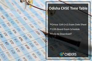 Odisha CHSE Time Table- Orissa 12th (+2) Exam Date Sheet