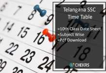 Telangana SSC Time Table, TS Board 10th Class Date Sheet