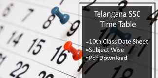 Telangana SSC Time Table, TS Board 10th Class Date Sheet