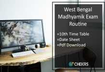 West Bengal Madhyamik Exam Routine- WBBSE 10th Time Table