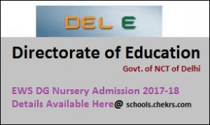 EWS DG Admission 2017-18- Nursery Merit List (1st, 2nd) at edudel.nic.in