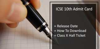 ICSE 10th Hall Tickets, CISCE 10th Admit Card Release Date