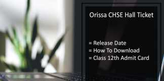 Orissa CHSE Hall Ticket, Odisha 12th Hall Ticket Release Date