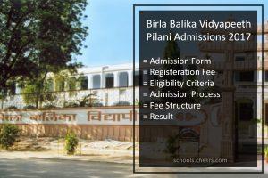 Birla Balika Vidyapeeth Pilani Admissions 2017- Form, Process