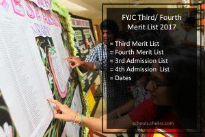 FYJC 3rd 4th Merit List 2017- Mumbai/ Pune Third Admission List