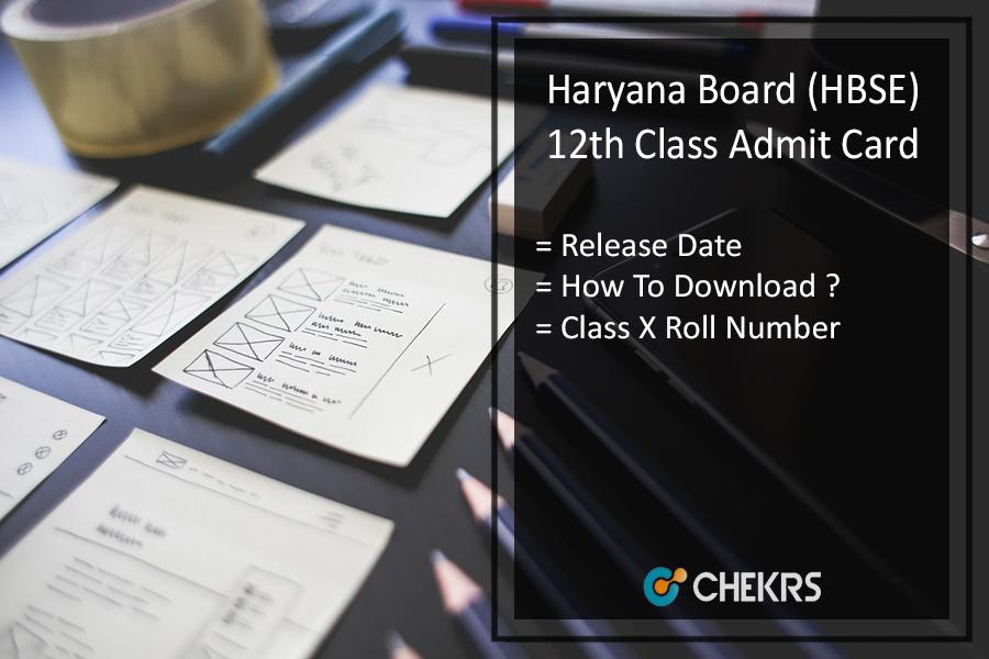 Haryana Board 12th Admit Card, HBSE Bhiwani Board 12th Roll No Slip