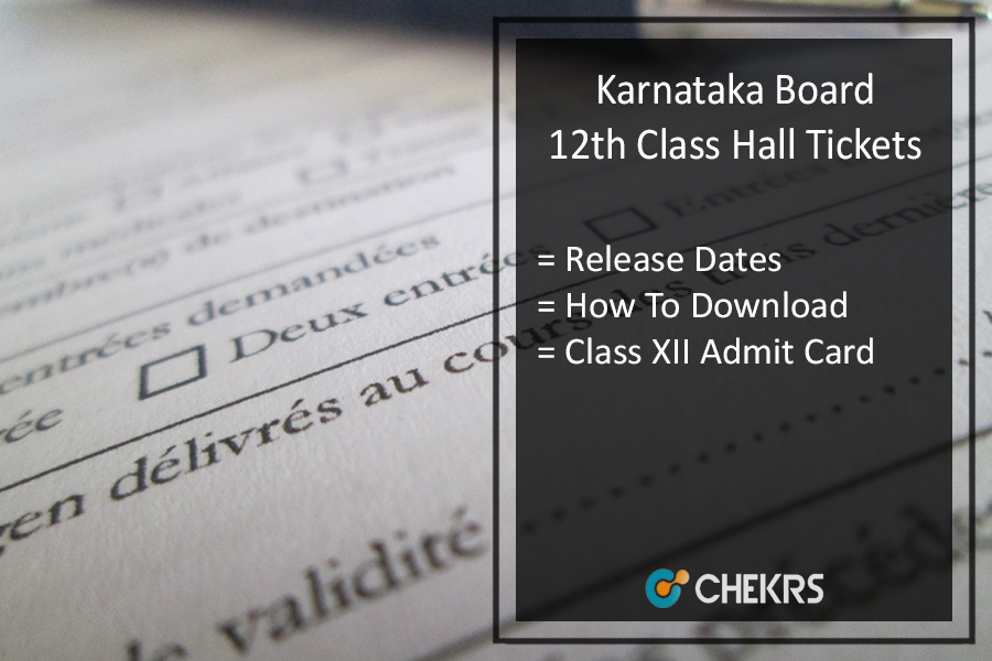 Karnataka 12th Hall Ticket, Karnataka Board PUC 2nd Year Admit Card Release Date