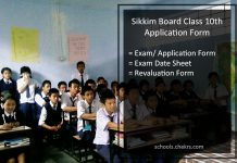 Sikkim Board 10th Exam Form, Class X Online Application
