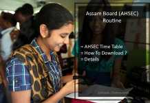 AHSEC Exam Routine, Assam HS Exam Schedule/ Date Sheet