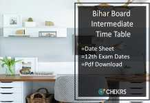 Bihar Board Intermediate Time Table- BSEB 12th Date Sheet