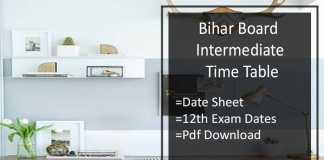 Bihar Board Intermediate Time Table- BSEB 12th Date Sheet