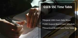 GSEB SSC Time Table- Gujarat 10th Exam Date Sheet, gseb.org