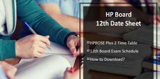 HP Board 12th Date Sheet- HPBOSE Plus Two Time Table, +2 Exam Date