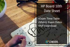 HP Board 10th Date Sheet- hpbose.org Matric Exam Date Sheet