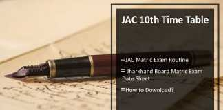 JAC 10th Time Table- Jharkhand Board Matric Exam Routine