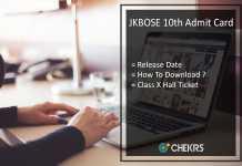 JKBOSE 10th Admit Card, Jammu Board 10th Class Hall ticket Release Date