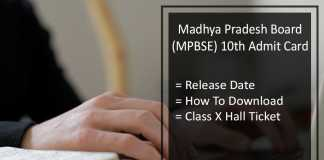 MPBSE 10th Admit Card, MP Board 10th Hall Ticket Release Date