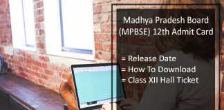 MPBSE 12th Admit Card, MP Board 12th Hall Ticket Release Date