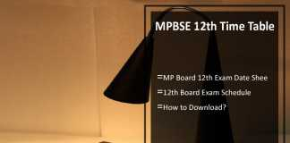 MPBSE 12th Time Table- MP Board 12th Exam Date Sheet, mpbse.nic.in
