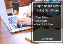PSEB 10th Date Sheet- Punjab Board Matric Time Table Download