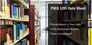 PSEB 12th Date Sheet- Punjab Board +2 Time Table