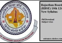 Rajasthan Board (RBSE) 10th 12th New Syllabus Pdf Download