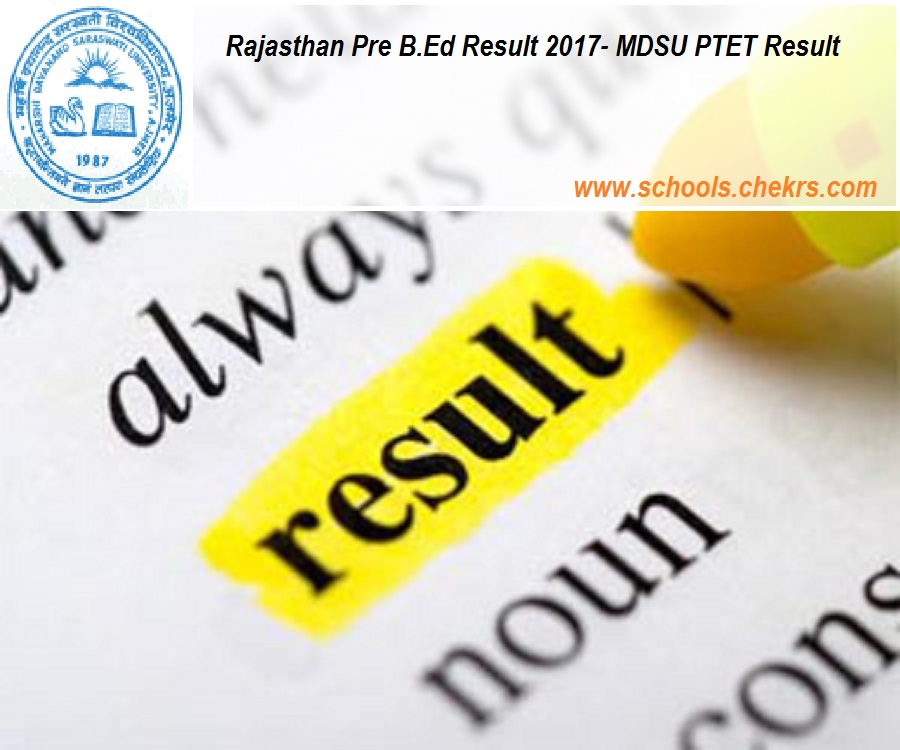 Rajasthan Pre B.Ed Result- MDSU PTET Result on 1st June Name Wise