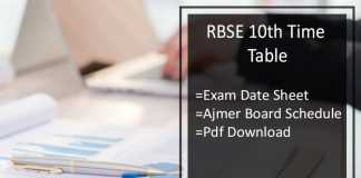 RBSE 10th Time Table- Rajasthan Board Ajmer Exam Date Sheet