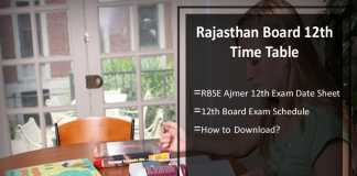 Rajasthan Board 12th Time Table- RBSE Ajmer 12th Exam Date Sheet