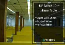 UP Board 10th Time Table- UPMSP High School Exam Date Sheet