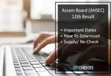 Assam Board Higher Secondary (HS) Supplementary Result @ahsec.nic.in