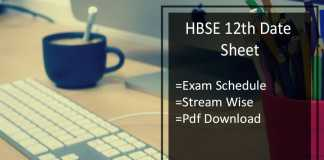 HBSE 12th Date Sheet- Haryana Bhiwani Board 12th Time Table